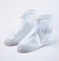 Men's outdoor rain boot cover fashion waterproof shoe cover waterproof and non-slip shoe cover White L
