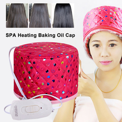 Electric Heating Cap Beauty Steamer SPA Nourishing Film Baking Oil Cap Hair Care Dye Evaporation Hat Rose Red as  picture
