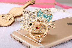 360 Degree Hello Kitty diamonds Finger Ring Mobile Phone Stand Holder For all Smart Phone style 1 one size