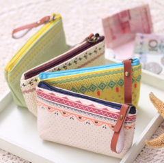 Women Bags Canvas Zipper Printed Strip Floral Small Change Coin Purse Female Key Card Pouch Money A one size