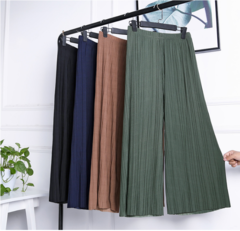 new wide leg pants Korean version of the wild nine pants loose female summer sense high waist pants green one size(45kg-85kg)