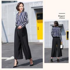new wide leg pants Korean version of the wild nine pants loose female summer sense high waist pants black one size(45kg-85kg)