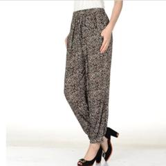One SIZE Summer Wide Leg Pants Women High Waist  Casual Pants Loose Pants Harem Pants leopard print one size(45k-80kg)