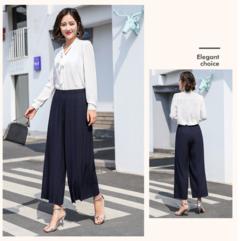 new wide leg pants Korean version of the wild nine pants loose female summer sense high waist pants navy blue one size(45k-80kg)