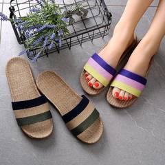 Linen Slippers Hom  Indoor Slippers Wooden Floor Linen Slip Soled Sandals Summer Home Men And Women Photo Color 1 35
