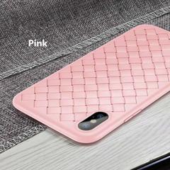 iphone x/xs/xr/xsmax/7/8/7 plus/8 plus/6/6s/6 plus/6s plus silicone anti-fall woven ultra-thin shell Pink iphone X/XS