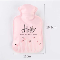 Hot water bag hand warmers carry hot water bags women's transparent warm handbags Pink flamingos As shown in the figure