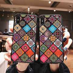 Iphone X/XS/XR/XMAX/7/8P/6/6S/6P/6SP ethnic style female mobile phone soft shell anti-fall National Style+Hanging Rope iphone xs