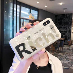 Iphone/XS/XR/XMAX/7/8P/6/6S/6P/6SP-RICH/NICE White Shell Hot Stamping Soft Shell Anti-fall White shell-gilded Rich iphone 6/6s