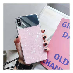 Iphone X/XS/XR/XMAX/7/8/7P/8P/6/6S/6P/6SP makeup mirror shell pattern silicone anti-fall soft shell Pink iphone x/xs