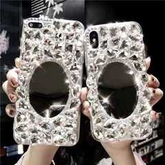 Iphone X/XS/XR/XMAX/7/8/7P/8P/6/6S/6P/6SP rhinestone silicone phone case with cosmetic mirror White mirror rhinestones iphone 6/6s