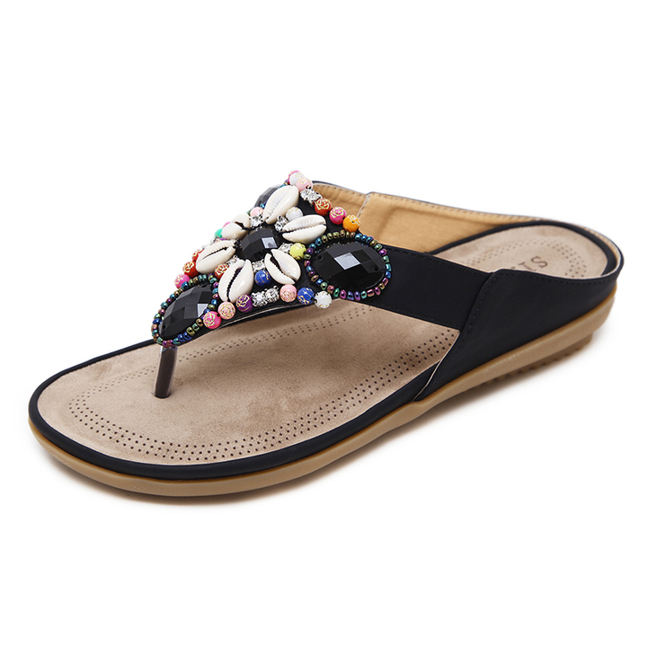 9b73c4411e9c New summer 2019 women 35- 42 flat sandals big yards shell beach shoes black  36