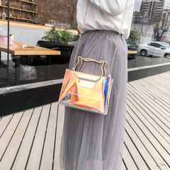 New trend of 2019 ms transparent shoulder aslant package laser personality cat the purse Rainbow color 17*7*14