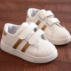 Women's shoes boy baby leisure sports shoes non-skid soft bottom children shoes with flat sole gold 23