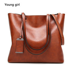 2019 ms high-capacity soft leather handbag leisure pure color single shoulder bag brown one size