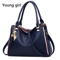 The new 2019 fashion lady handbags one shoulder bag fashion party bag messenger bag dark blue 32*14*23