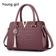 New crocodile grain lady's bag handbag ms messenger bag worn thin shoulder bag tassel purple one size