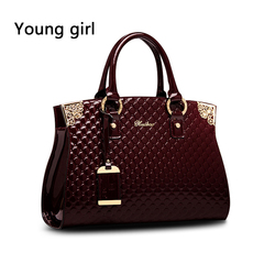 Ms authentic patent leather handbag luxury single cross handbag messenger shoulder bag burgundy one size