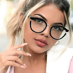 Women Cat Eye Glasses Frames Optical EyeGlasses Fashion Metal Frame Prescription Eyewear black clear