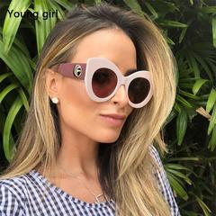 Luxury Big Cat Eye Sunglasses Women 2019 Fashion Shades   Vintage Designer Glasses pink white 01