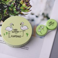Color Flamingo Contact Lenses Case For Lenses Container Contact Lens Cleaner Lens Eyewear Cases A 01