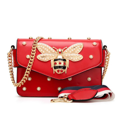 New famous brand women messenger bags small chain shoulder bag pearl hand bag 2019 Red White black red one size