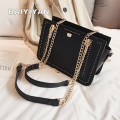Luxury Rivet Handbag Women's Bag Designer Brand Metal Chain Tote Bag Casual PU Leather Crossbody Bag black one size