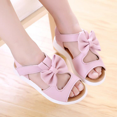Summer Girls Sandals Children Shoes Princess Dress Shoes Kids Girls Bowtie PU Leather Shoes pink 2