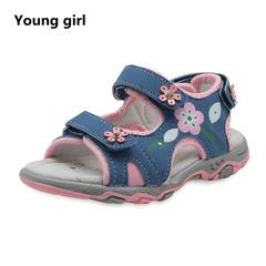Apakowa Summer Children Shoes Girls Sport Beach Sandals with Arch Support Kids Hook-and-Loop Sandals blue 5.5