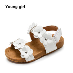 2019 New Summer Children Sandals for Girls Soft Leather Flowers Princess Girl Shoes Kids Beach white 5.5