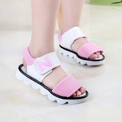 2019 fashion brand designer summer new Korean letter N girls sandals baby kids princess shoes pink 1