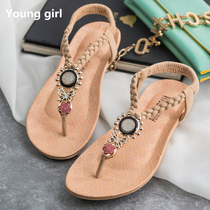 T-Strap Shoes Women Sandals Summer Flat Sandals 2019 Bohemian Flip Flops Women Shoes Roman Casual beige 4.5