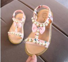 Girls New Summer Sandals Children Pearl Beading wedges beach Sandals Enfants School Flat Shoe pink 5.5