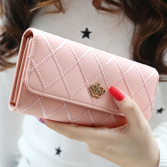 Womens Wallets and Purses Plaid PU Leather Long Wallet Hasp Phone Bag Money Coin Pocket Card Holder pink long