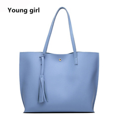 Women Shoulder Bag Soft Leather Bags Ladies Tassel Tote Handbag High Quality Women's Handbags blue one size