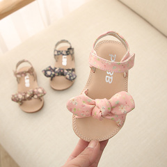2019 new Girls Summer  Sandals 0-1-3 Years Old Princess's bowknot Shoes with Soft soles anti slip pink 7.5