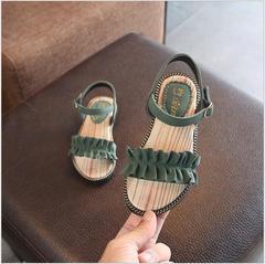 2019 Pure Summer Girls Sandals Ruffles Princess Soft Beach Shoes Anti-Slip Big Girls Sandal green 1