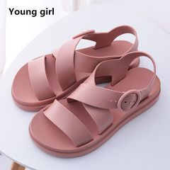 Women Flat Sandals Gladiator Open Toe Buckle Soft Female Casual Summer Flat For Girl Beach Shoes pink 6