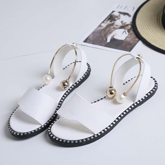 new 2019 ms summer sandals word buckle joker flat fashion students open-toed sandals white 35
