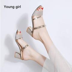 Women sandals fashion summer square heel women slippers women sexy open toe sandals for women gold 3.5