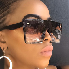 Oversized Square Sunglasses Women 2019 Luxury Brand Fashion Flat Top Red Black Clear Lens 1 one