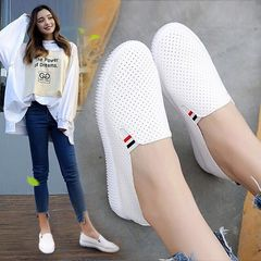 Women Sneakers White Flats Cut-Out Woman Loafers Pu Leather Slip on Shoes Low Heels Casual Shoes white 4.5