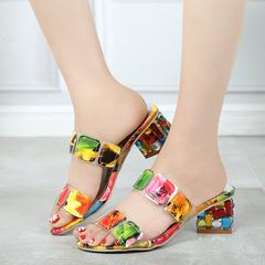 2019 Summer Women Multi Colors Sandals High Heels Open Flip Flops Ladies Crystal Heels Shoes one 5