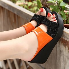 New 2019 women's sandals Women Summer Leisure Fish Mouth Sandals Thick Bottom Slippers wedges shoes orange 35