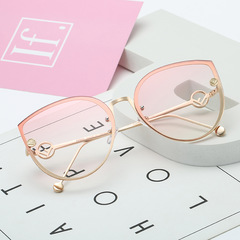 2019 Cat Eye Vintage Brand Designer Black Mirror Sunglasses For Women Metal Frame Sun Glasses GRADIENT PINK one