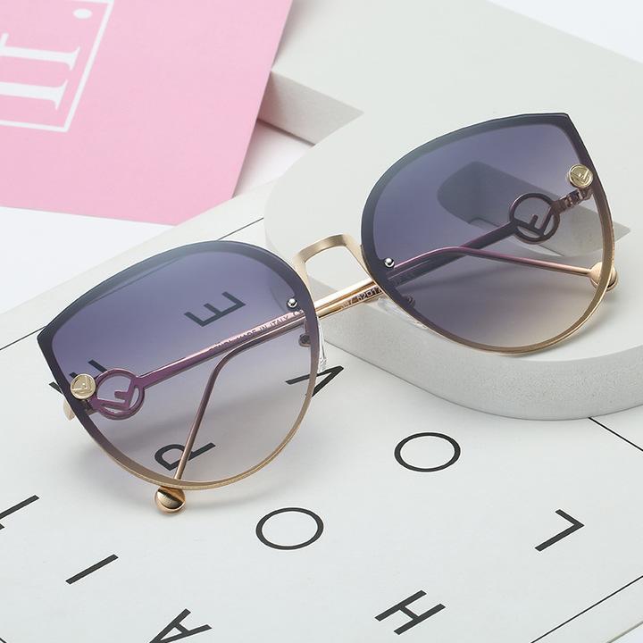 2019 Cat Eye Vintage Brand Designer Black Mirror Sunglasses For Women Metal Frame Sun Glasses GRADIENT GRAY one