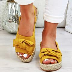 Womens Sandals Flats Sandals For Summer Shoes Woman Peep Bow Casual Shoes For Women 2019 yellow 35