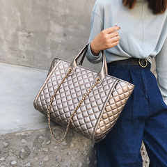 2019 Large Shoulder Bag Women Travel Bags Leather Pu Quilted Bag Female Luxury Handbags Women Bags gold 26*40*18