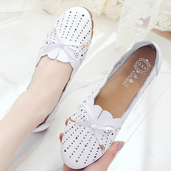 Women shoes Loafers women flats Woman Genuine Leather shoes Flats Slip On Women's Flat white 5.5