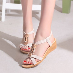 Summer Bohemian Women Sandals Beach Shoes Elastic Casual Female Beaded Open Toe Roman Low Flat white 5